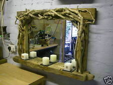 Very Large Sculptured Driftwood Mirror &  Candle Shelf