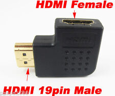 100pcs 19pin HDMI Male to Female Left Angle 90D Gold Plated Adapter Converter UK