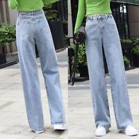 Women Retro Jeans Denim Pants Straight Wide Leg Trousers Full Length Long Pan*^