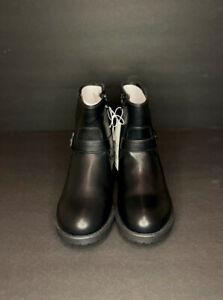 NEW* Cat & Jack Girls Shoes Black Faux Leather Buckle Zip Boots Youth SIZE 3,4,5