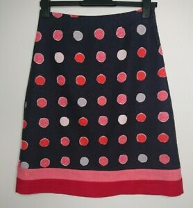 Laura Ashley Navy & Pink Skirt Size 8 Linen/Cotton Spot Print, Lined, A Line