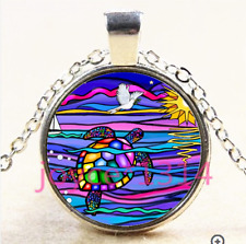 Vintage Sea turtle Cabochon Tibetan silver Glass Chain Pendant Necklace #3880
