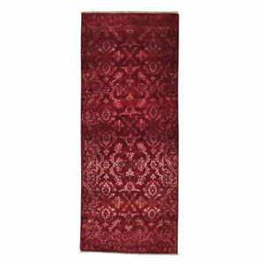 "2'7""x6'4"" Damask Wool and Silk Runner Tone on Tone Handmade Oriental Rug R27221"