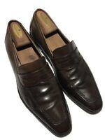 Mezlan Men's Dk Brown Leather Apron Toe Perforated Slip On's - 11.5E  In Spain