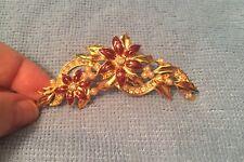 "1994 ""AVON"" Goldtone Chrysanthemum Flower Enamel Pearl Rhinestone CHRISTMAS PIN"