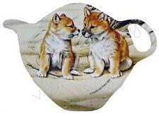 1 x Australian Souvenir Tea Bag Holder Spoon Rest - Triple Trouble Dingo Pups