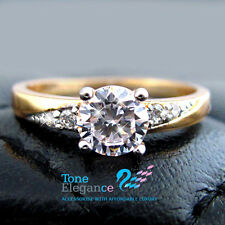 9ct 9k yellow gold GF solid engagement wedding ring made with swarovski elements