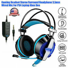 3.5mm Gaming Headset with Mic LED Headphones Surround For PC Laptop PS4 One 2020