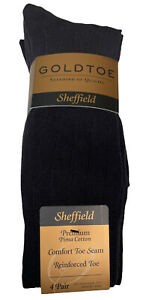 4 Pairs  GoldToe SHEFFIELD Premium Pima Cotton Navy Mens Socks Size 10-13 NWT