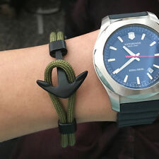 Men Fashion Black Anchor Rope Chain Charm Bracelets Metal Wrap Hooks Jewelry