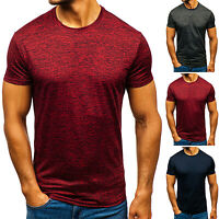 Men's Summer Solid Short Sleeve T-Shirt Slim Fit Top Casual Sport Gym Muscle Tee
