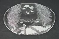 """Rare Vintage Kosta Boda Clear Etched Glass 16.75"""" Platter Tray"""