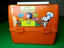 Vintage Peanuts Snoopy Orange Lunchbox Lucy's Luncheonette