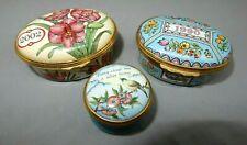 Halcyon Days enamel trinket box set of 3 1990, 2002