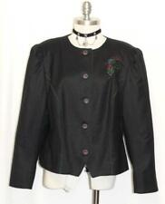 BLACK~WOOL German Women ELEGANT Riding EMBROIDERED Dress Suit JACKET Over Coat L