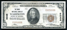 1929 $20 THE RIGGS NB OF WASHINGTON, D.C. NATIONAL CURRENCY CH #5046 UNC (B)