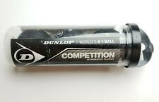 Nib 3 Dunlop Competition Squash Balls In Tube - Black Free S/H
