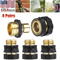 4 Pair 3/4' Garden Hose Quick Connect Hose Fit Brass Hose Tap Adapter Connector