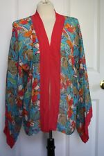 NWT Marsh Landing S/M Silk Colorful Floral Silk Caftan Cover Up Cardigan
