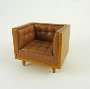 Dollhouse Miniature Modern Sectional Chair in Brown Leather, J9074AL
