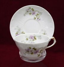 HAVILAND Charles Field CHF138 PURPLE ROSES pattern Cup & Saucer Set