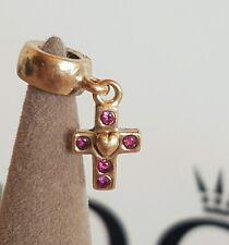 Authentic Pandora 14ct 14k Gold Ruby Pink Sapphire Cross Dangle Charm 750356PSA