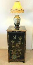 More details for vintage chinese furniture black lacquered chinoiserie tall cabinet 38 ins tall