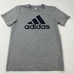 Adidas T Shirt Boys Size XL Short Sleeve Gray Crew Neck Casual 100% Polyester