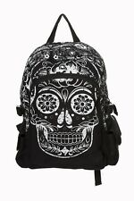 Black Mexican Sugar Skull Gothic Punk Emo Rucksack Backpack By Banned Apparel