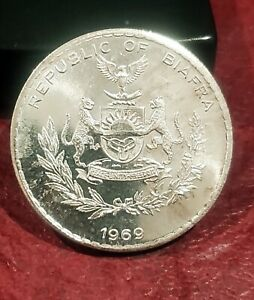 1969 BIAFRA SILVER 1 POUND ~ KM-6 ~ VERY RARE TYPE ~ GEM BRILLIANT UNCIRCULATED