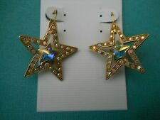 Kirks Folly leverback goldtone star earrings with ab clear stones