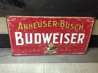 Vintage Budweiser Beer Tin Metal Sign Anheuser Busch Bottling Brewery Bar