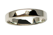 """Fedi nuziali mod.""""piatta"""" in oro 18 kt. con diamante coppia anello matrimoniale"""