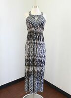 Soma Black White Brown Abstract Geometric Printed Maxi Dress Size S Keyhole