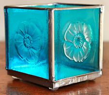 "3"" Square Caribbean Blue Floral Votive Candle Holder - BEAUTIFUL!  (SGL157)"