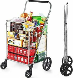 Wellmax Grocery Shopping Cart with Swivel Wheels, Foldable and Collapsible...