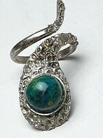 800 Silber Ring Schlangenring Handarbeit Israel ? Chrysokoll bes. RG 56/17,8mm