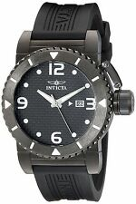 New Mens Invicta 1432 Swiss Quartz Specialty Black Dial Rubber Watch