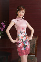 Traditional Asian Chinese Cheongsam Cheong-Sam Qipao Dress Pink  with Flowers
