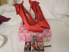 Pinup Couture Shoes Red Satin Size 11 BOMBSHELL