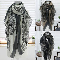 Womens Voile Long Boho Deer Print Scarf Wrap Shawl Stole Scarves Birthday Gift