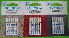 15 Macchina da cucire Aghi Schmetz Stretch, pelle, Jeans AGO Amidi 75 FINO A 110