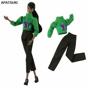 """Fashion Clothes Set For 11.5"""" Doll Outfits Green Blouse Tops Pants Trousers 1/6"""