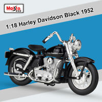 New Maisto 1:18 Harley Davidson Black 1952 K Model Motorcycle Diecast Model Toys