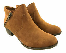 LADIES FAUX SUEDE COWBOY ANKLE BOOTS SIDE ZIP BLOCK HEEL BROWN SIZE 6-9