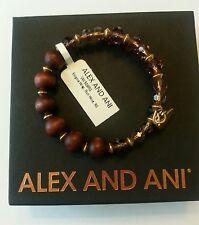 ALex and Ani ENIGMA Red WINE Beaded Charm Bangle Bracelet BOX NWT Gold Rare