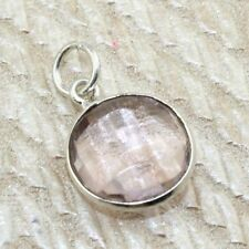 A284 Round Faceted Pink Quartz Silver Plated Pendant Jewelry For Women Girls
