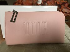 Christian Dior Pink Designer Faux Leather Clutch Purse  make up bag new In Box