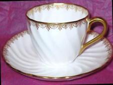 Tuscan Tea Cup and Saucer WHITE & GOLD FLUER-de-LIS RAISED SWIRL Teacup