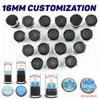 Metal Black Customizable Push Button Momentary Switch 16mm Waterproof 12V